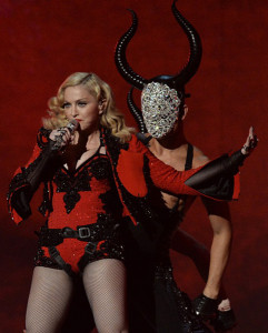 "Madonna during her Grammy performance to ""Living for Love"""