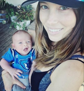 Jessica Biel with son Silas Randall.