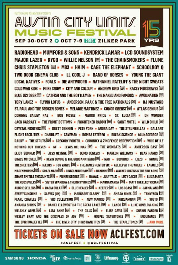 ACL 2016 lineup poster